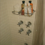 Convert existing late 1700's shower into modern functioning unit incorporating, upgraded plumbing, new tile work and fixtures to complement pre-existing, refinished, cast iron tub. Tile is Ann Sacks Bright White Matte.
