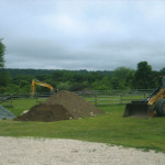 Installation of new septic system: Removing organic top soil in preparation for septic system installation. (Picture 1 of 2)