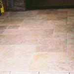 Limestone tile with a random pattern.