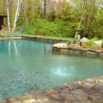 The fieldstone edging complements the natural pool design.